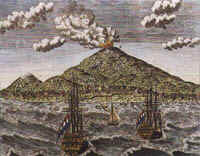 A view of the town and fort of Ternate, Moluccas by Heydt (1744)