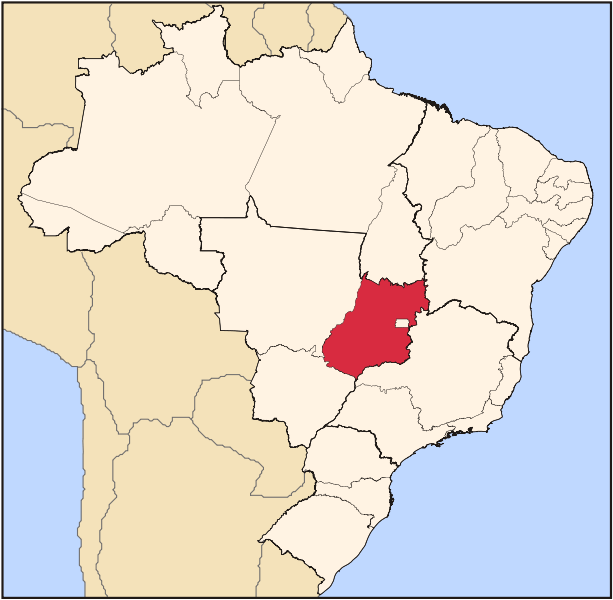 Location of the state of Goias in Brazil