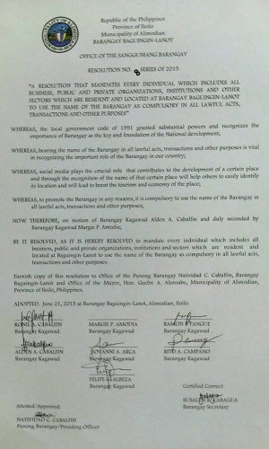Baguingin-lanot mandating the use of the barangay name.jpg