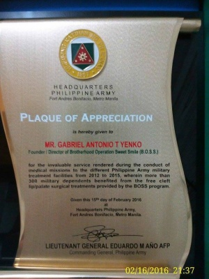Plaque of Appreciation from Lt. General Eduardo M. Año AFP - Commanding General Philippine Army.jpg